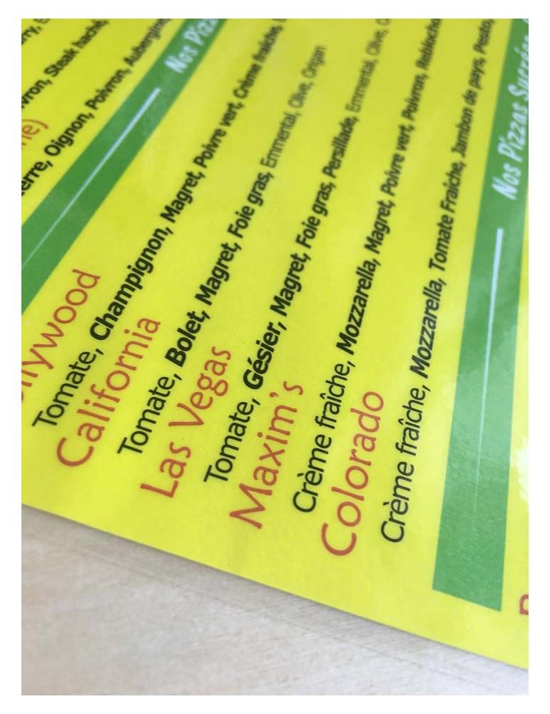 imprimerie menu restaurant plastification brillant